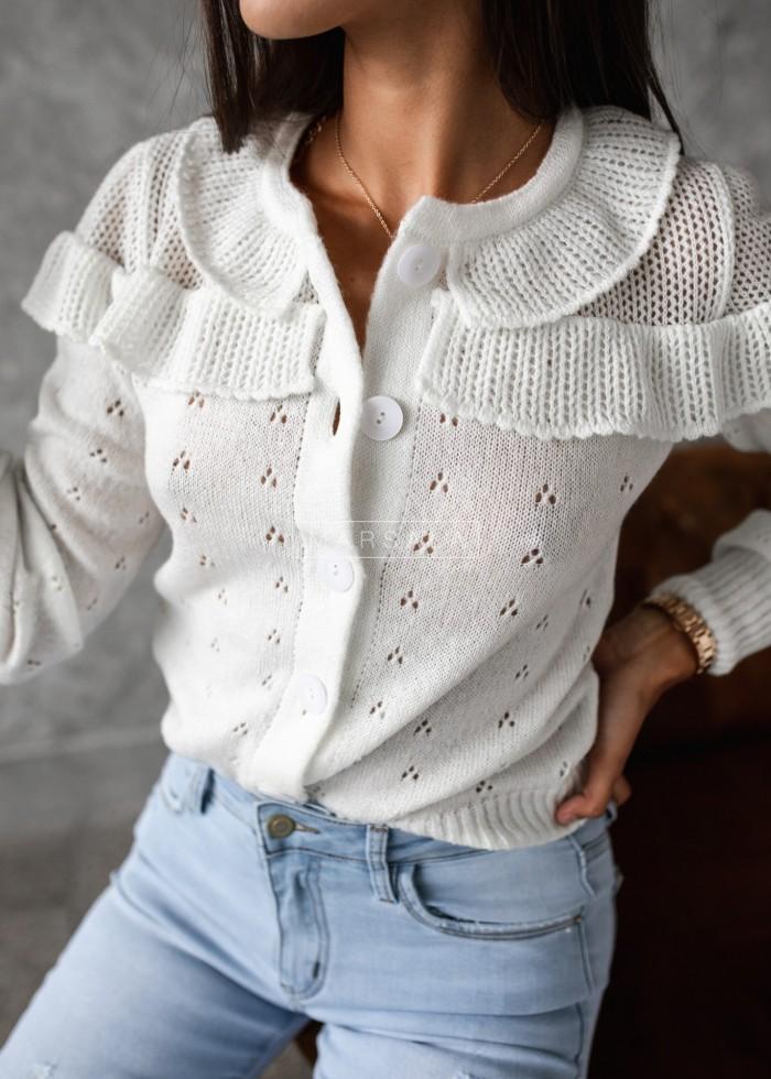 Sweterek kardigan ażurowy kolor ecru - PUEBLO