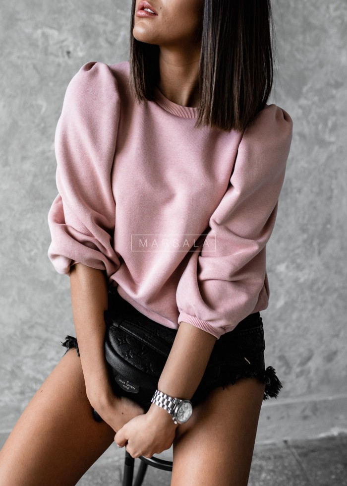 Hoddie with puffy on sleeves in dirty pink - DOLL by Marsala