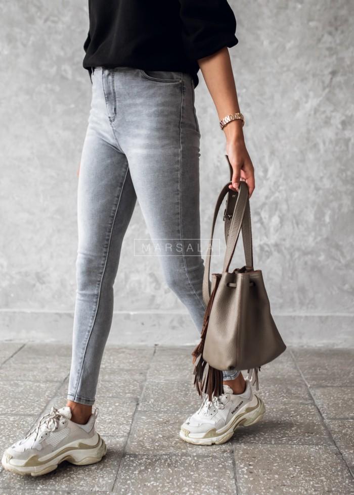 Spodnie jeansy slim fit gładkie szare - MOUSE