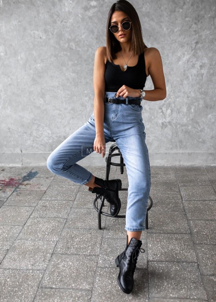 Spodnie jeansowe jasne typu mom fit - CRAFT