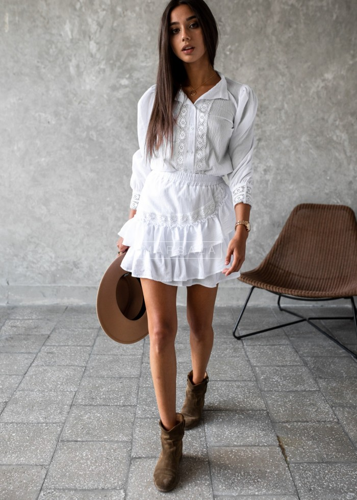 Suite skirt+blouse with frills in white - LIVIEN WHITE