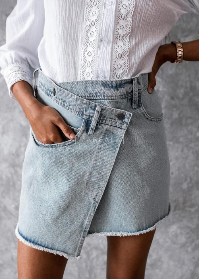 Spódniczka mini jeansowa jasna asymetryczna - ERICA