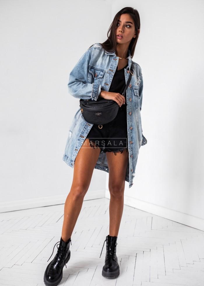 Długa katana jeansowa przecierana - LOS ANGELES