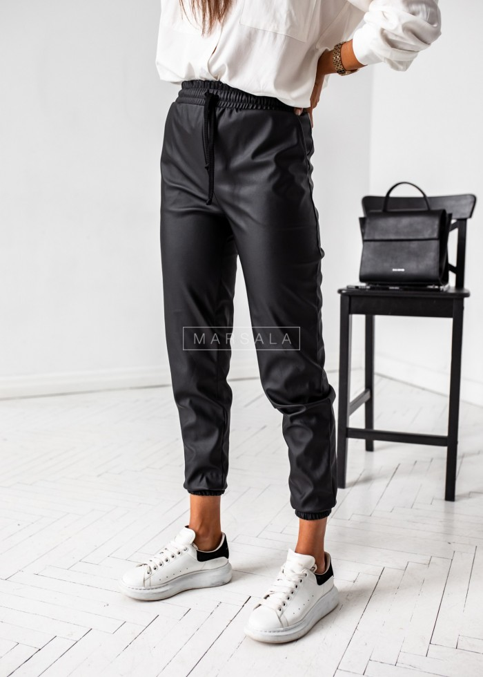 Black faux leather joggers - BELFAST BLACK by Marsala