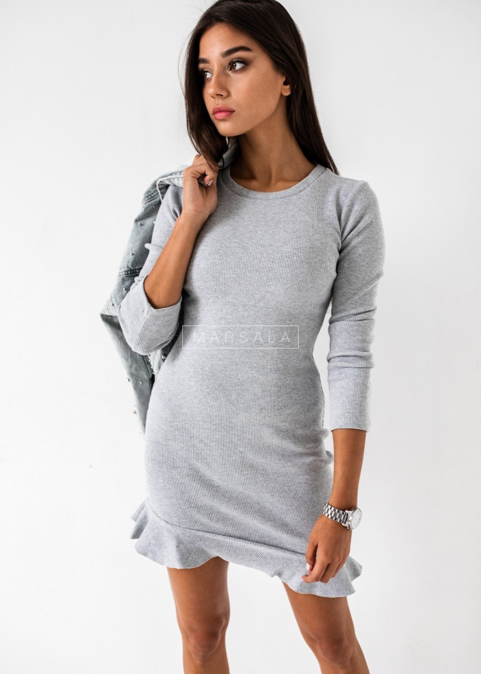 Long-sleeved frill mini dress in grey - DREAM BY MARSALA