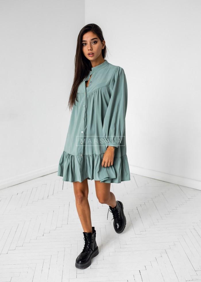 Sukienka oversize z falbanką w kolorze morskiej zieleni - SICILIA