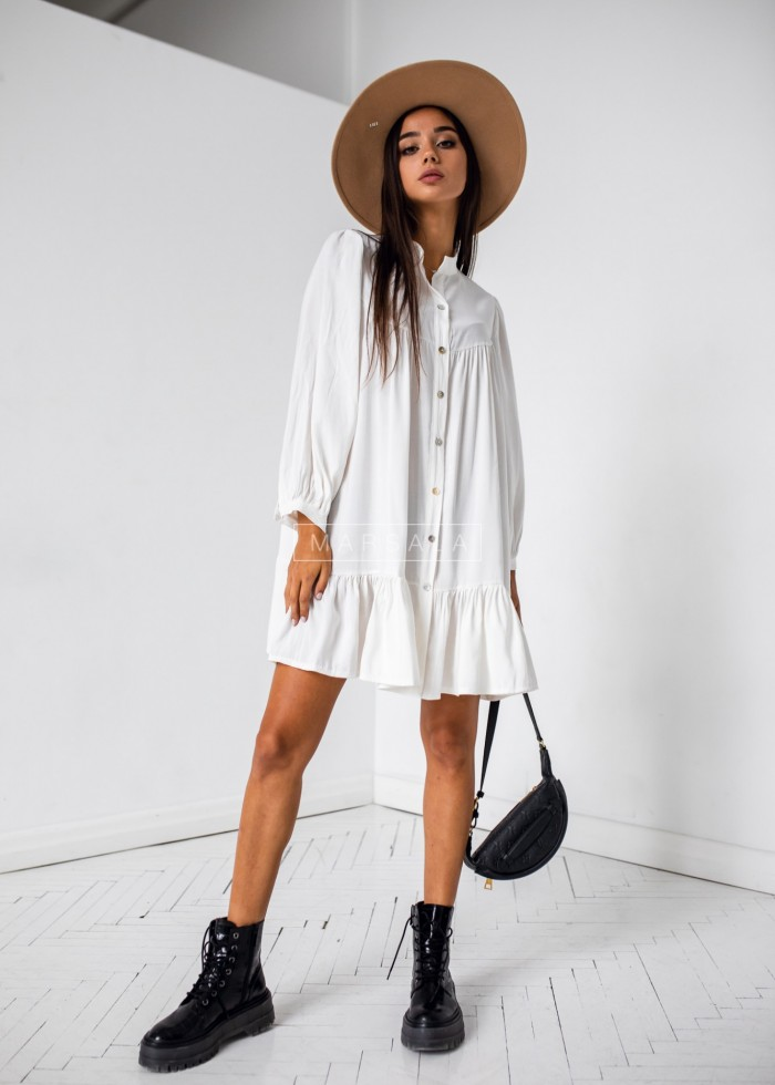 Oversize frill dress in ecru - SICILIA