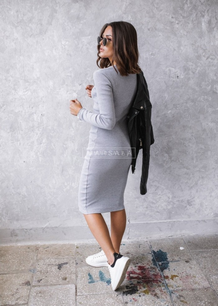Fitted maxi dress in grey - KYLIE MIDI