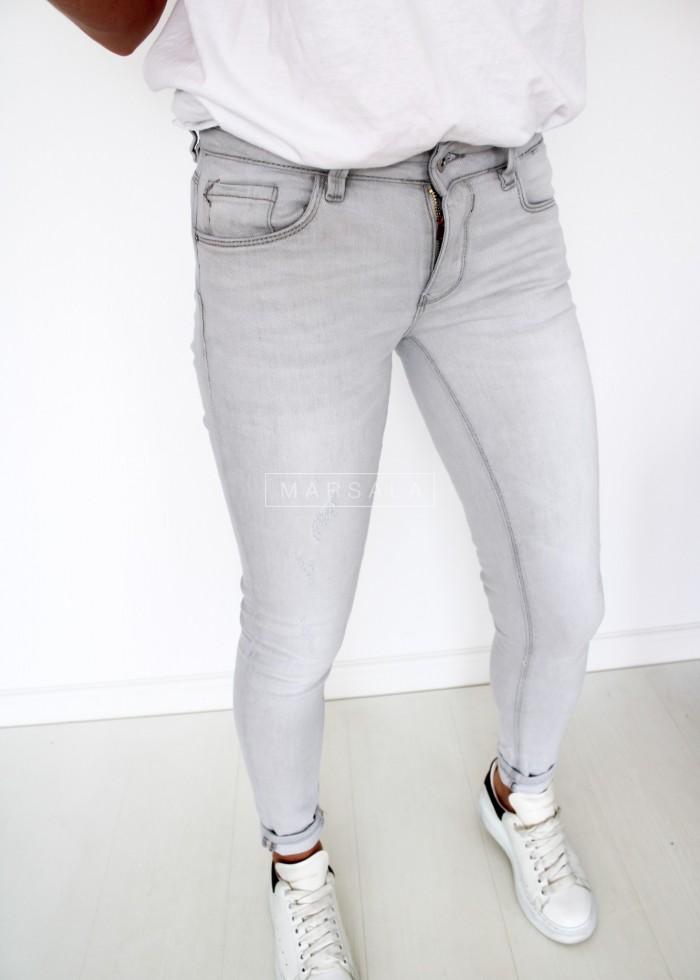 Spodnie jeansy jasnoszare slim fit - DEFINITE