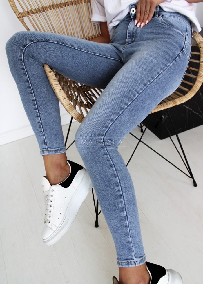 Spodnie jeansowe gładkie push up - SIMPLE BLUE