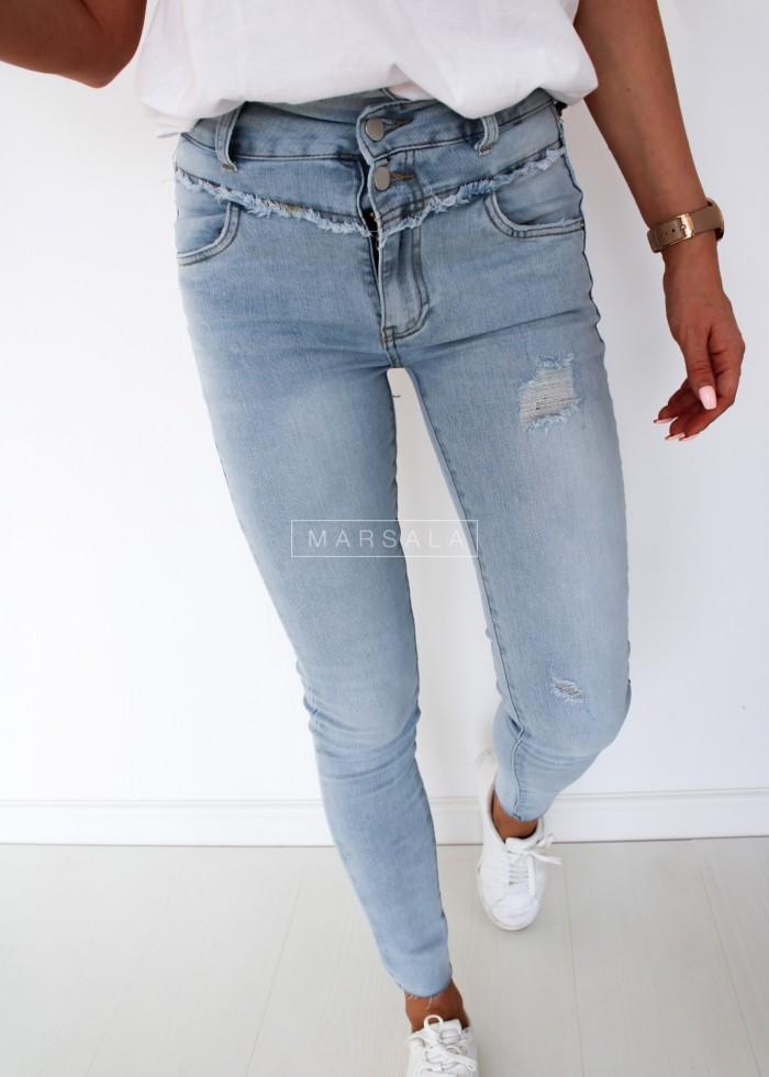 Spodnie z wysokim stanem slim fit jasny jeans - PALERMO