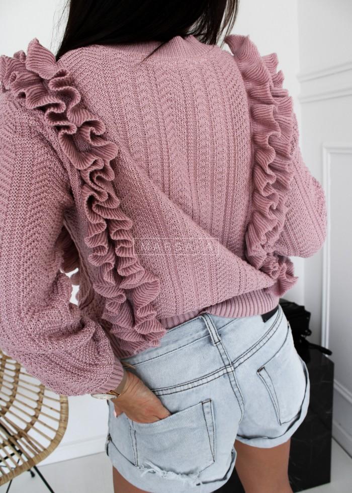 Sweterek rozpinany z ozdobnym splotem różowy - STRAWBERRY