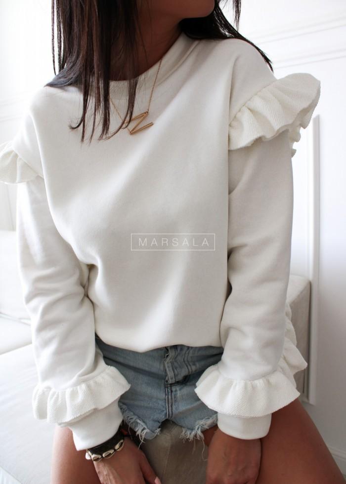 Bluza z ozdobną falbanką w kolorze ecru - LASH