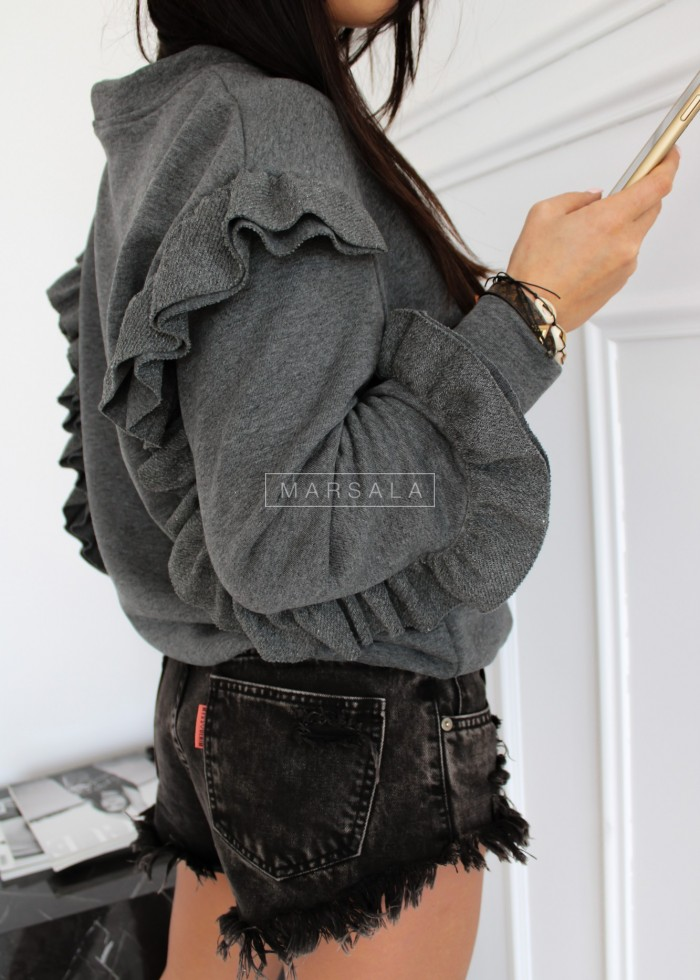 Bluza z ozdobną falbanką w kolorze szarym - LASH