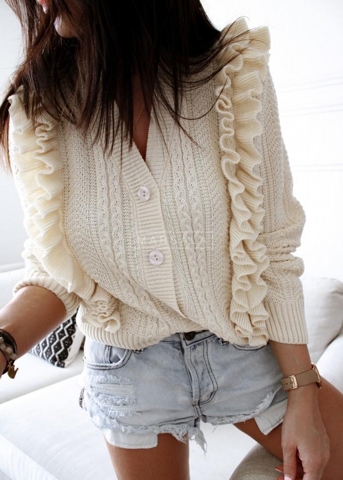 Sweterek rozpinany z ozdobnym splotem ecru - STRAWBERRY