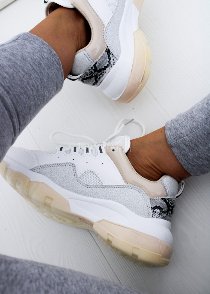 White sneakers with grey, beige and snake inserts - JORDAN