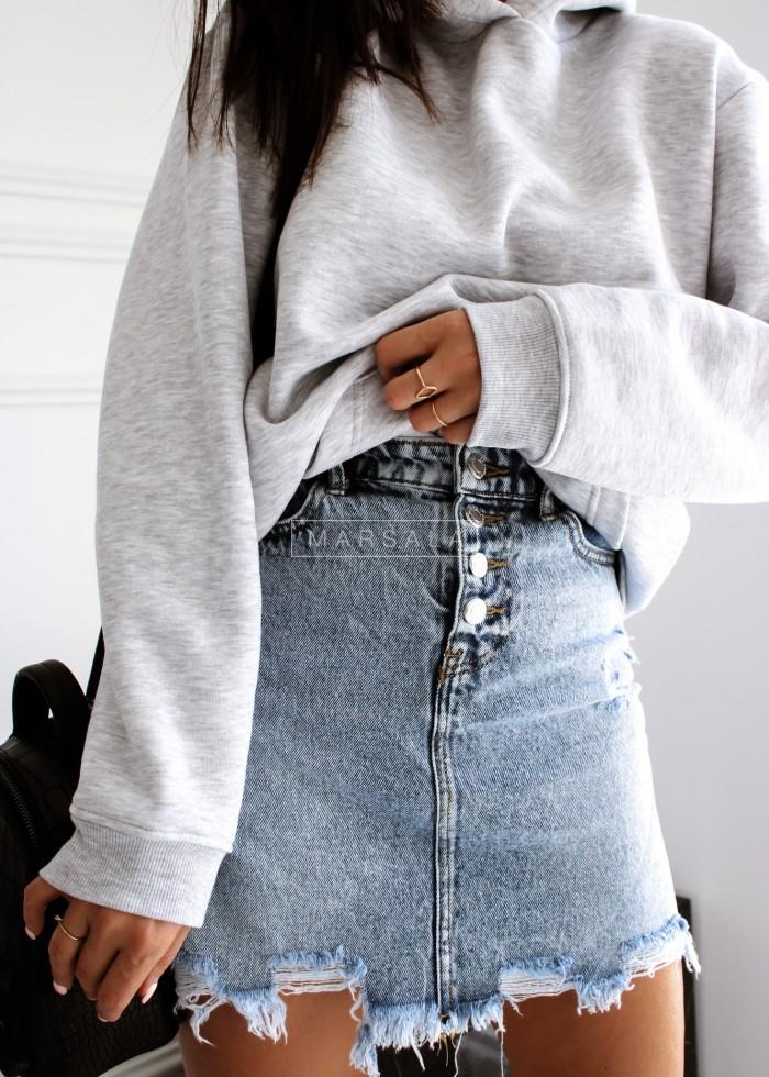 Spódniczka jeansowa mini z poszarpanym dołem - SUGAR
