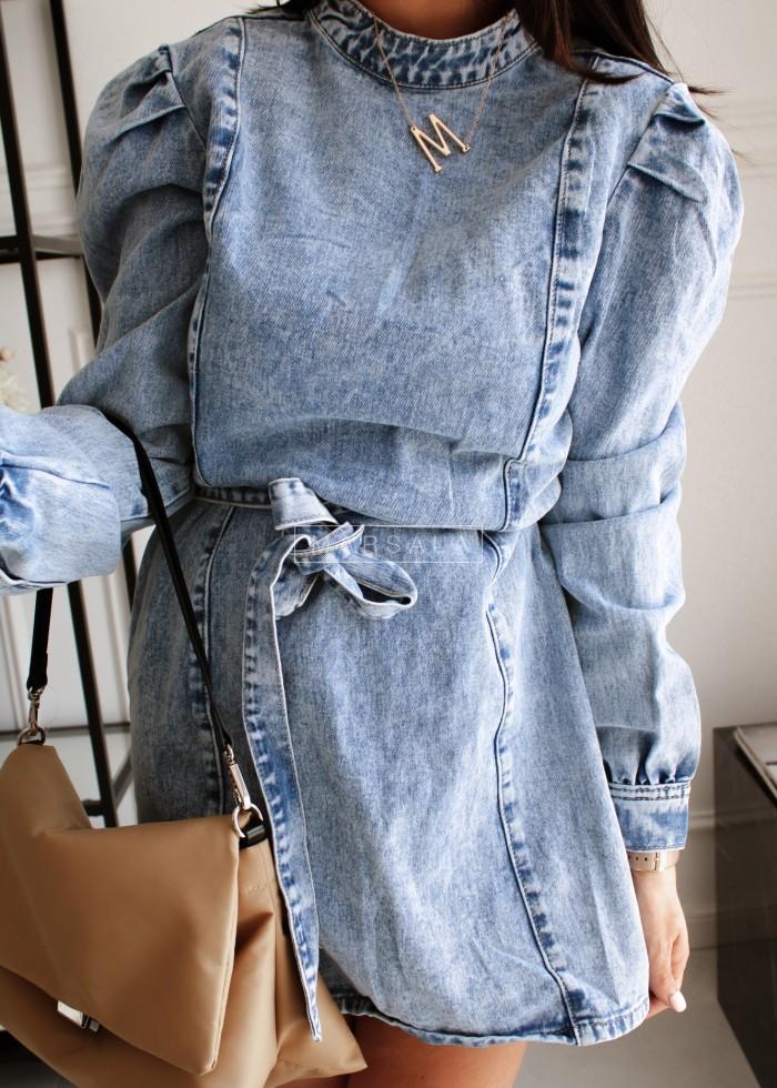 Sukienka z wiązaniem z przecieranego jeansu - KELLY