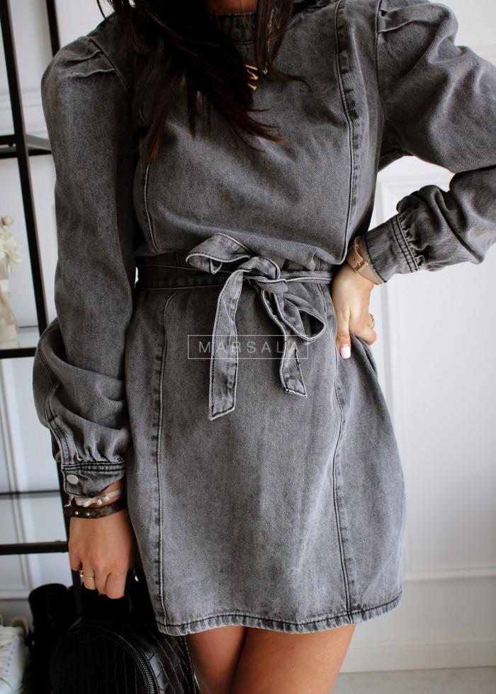 Sukienka z wiązaniem z przecieranego czarnego jeansu - KELLY BLACK