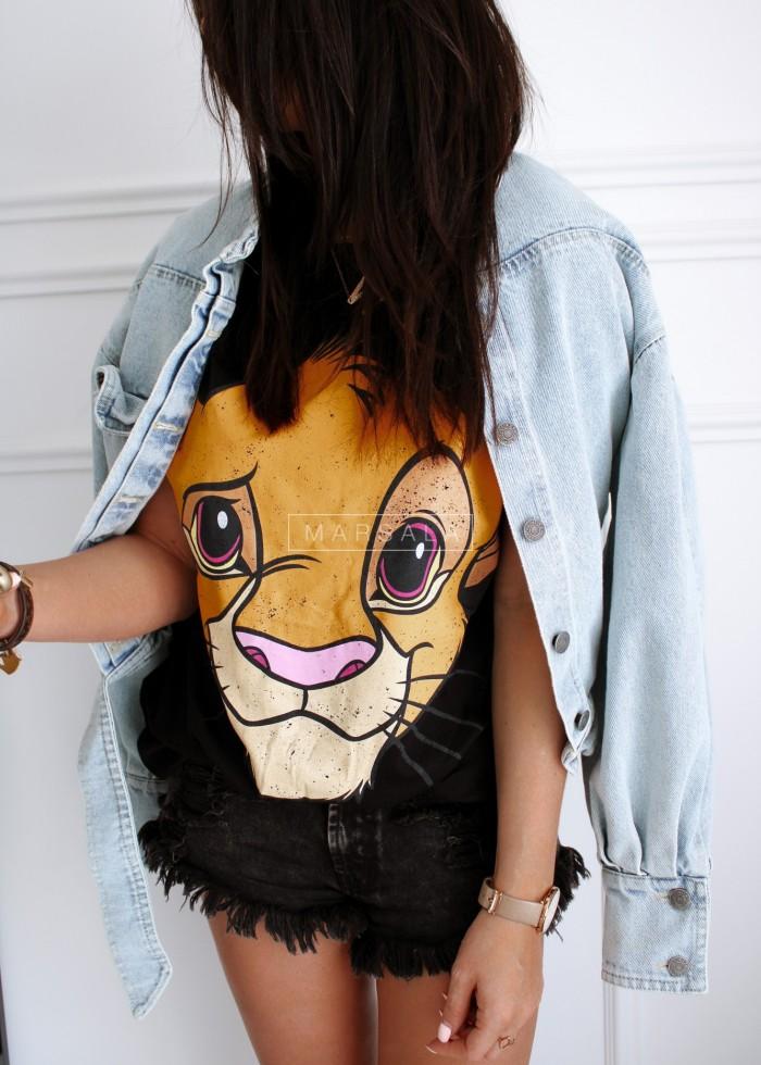 T-shirt damski z motywem z Króla Lwa czarny - LION