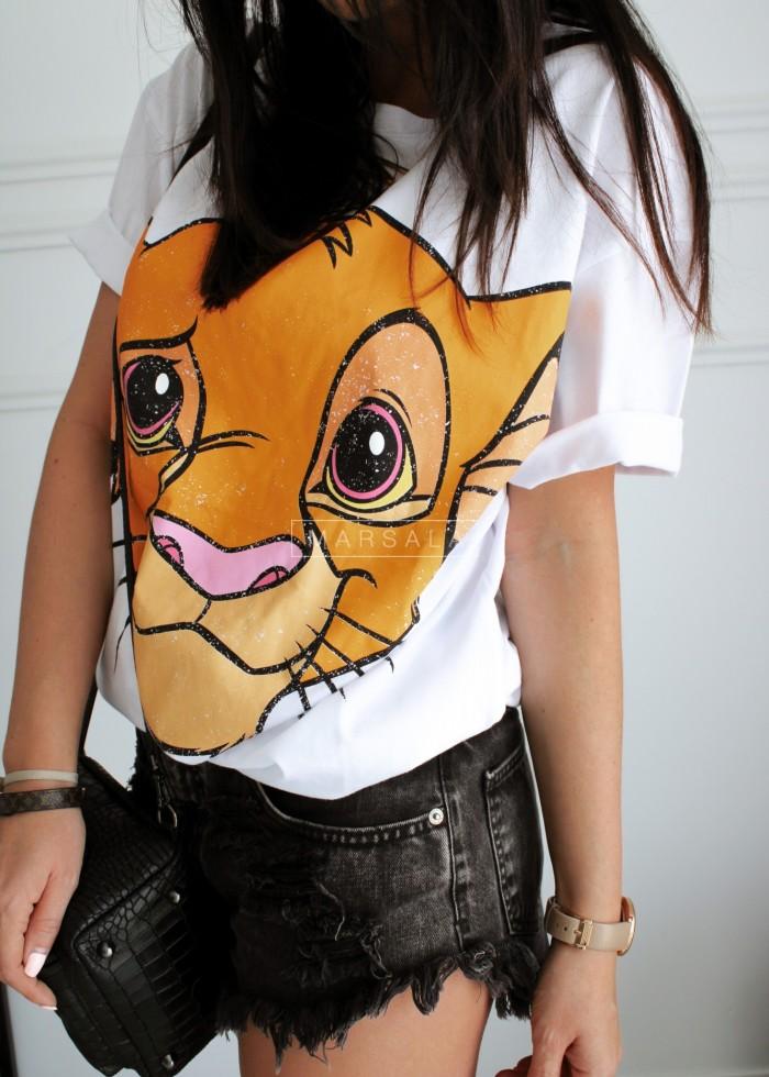 T-shirt damski z motywem z Króla Lwa biały - LION
