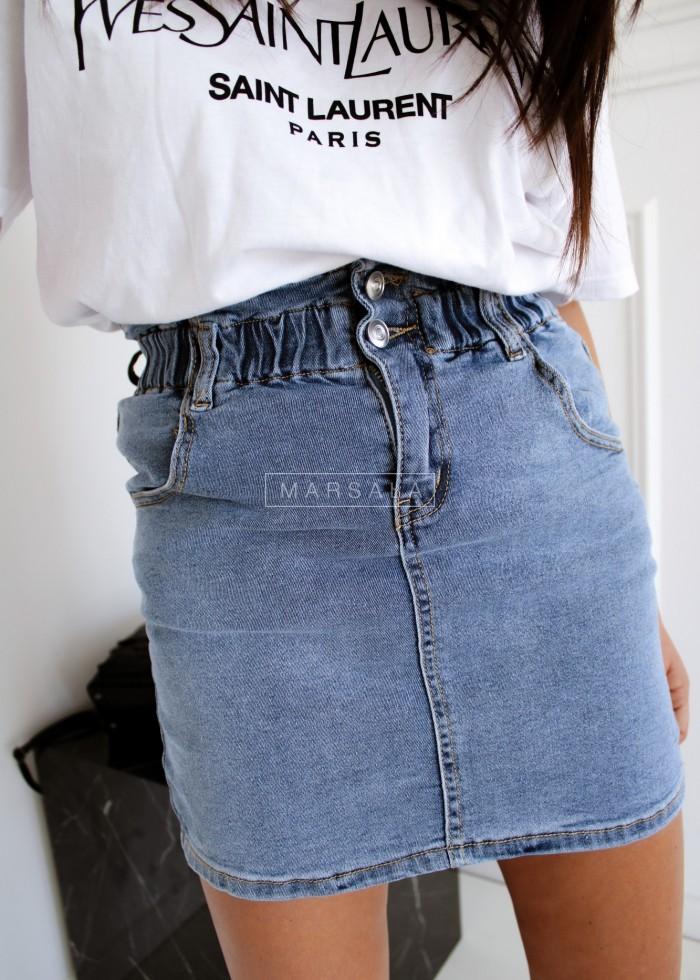 Mini denim skirt with ruffle - OLSEN BLACK