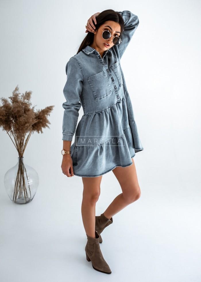 Sukienka koszulowa z falbankami sprany jeans - MERCY DENIM BY MARSALA
