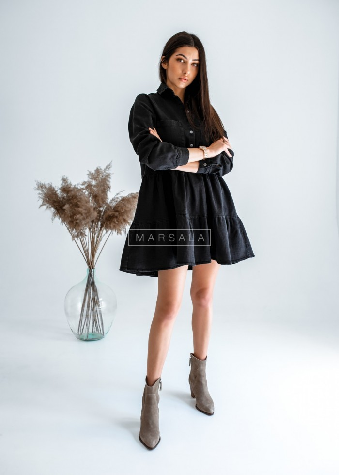 Shirt dress with frill washed black denim - MERCY BLACK BY MARSALA