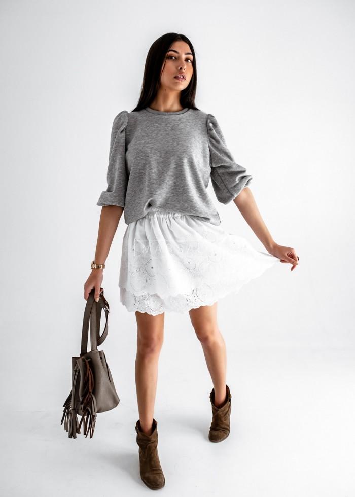 Flared white skirt with openwork finish - BUENA