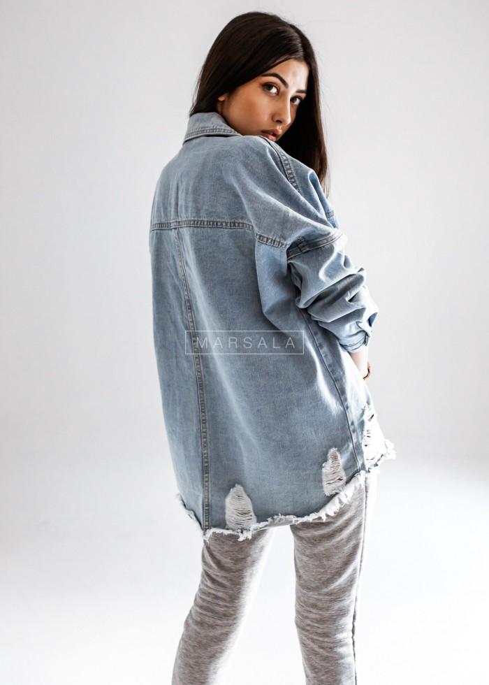 Koszula wierzchnia jasny jeans z przetarciami - SELFIE