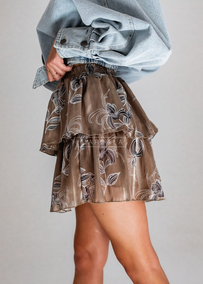 Spódniczka mini z falbankami i nadrukiem ciemny beż - BLANCA VINTAGE by Marsala