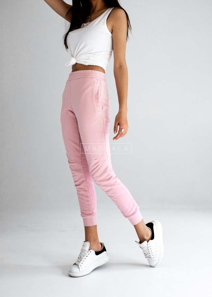 Pink tracksuit bottoms with stitching - SIMON by Marsala