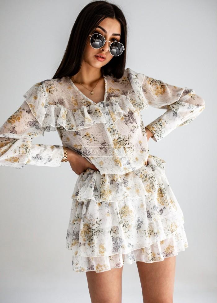 Komplet bluzka + spódniczka w kwiatowy print kolor żółty - RITA YELLOW