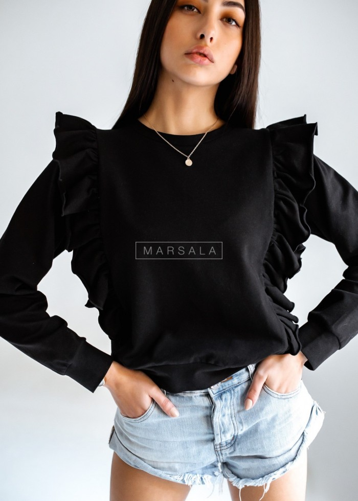 Frill sweatshirt in black - LAURI by Marsala