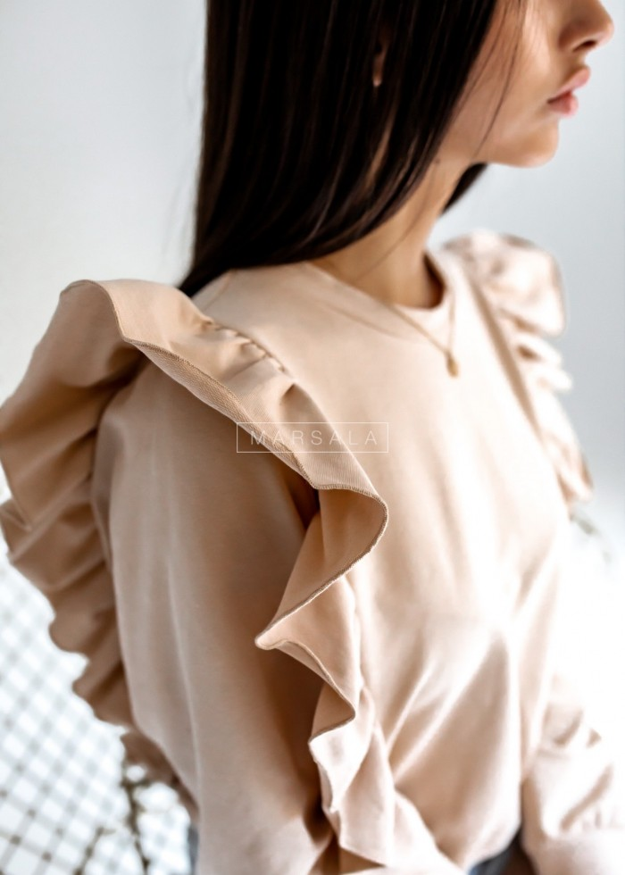 Frill sweatshirt in beige - LAURI by Marsala