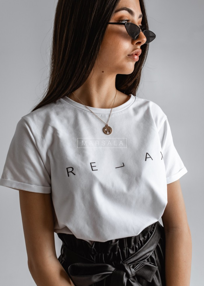 Women's white t-shirt with RELAX print by Marsala
