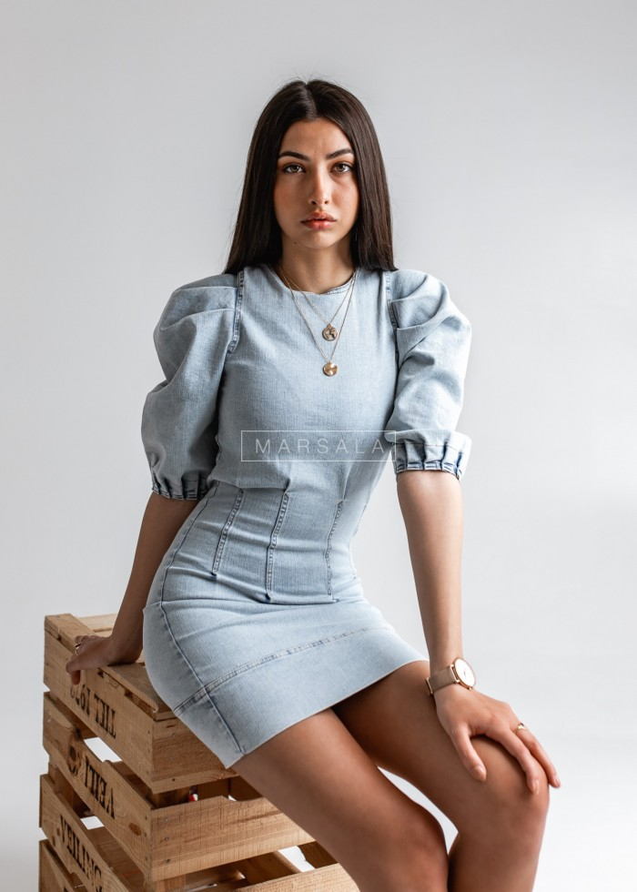PALM SPRING dress light denim with modelling stitching