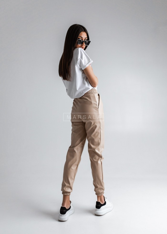 Beige faux leather joggers - BELFAST BEIGE by Marsala