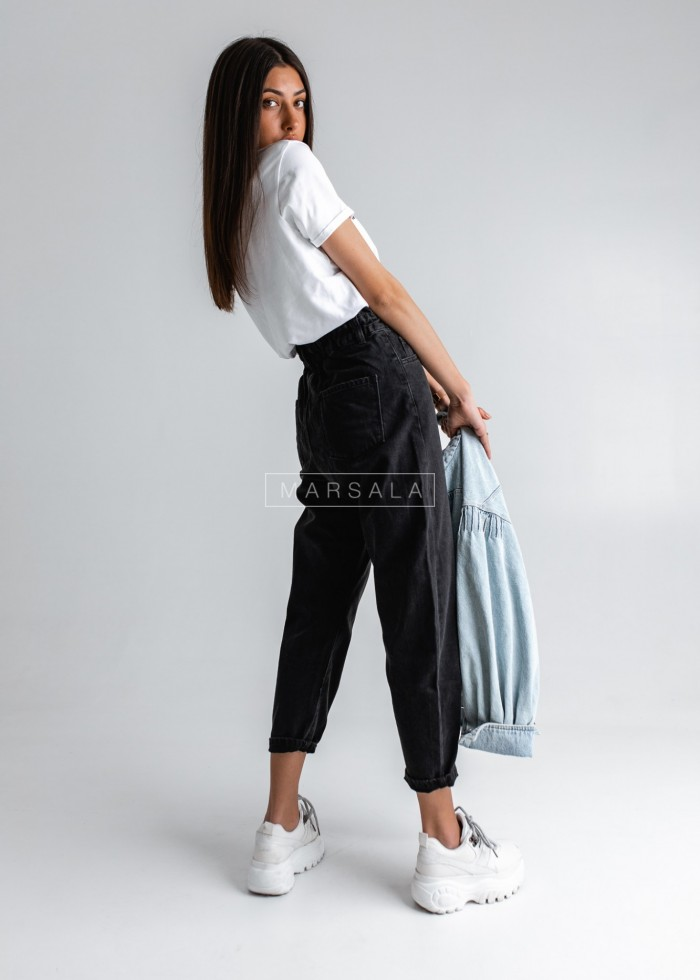 Spodnie typu slouchy z czarnego jeansu - PORTO BLACK