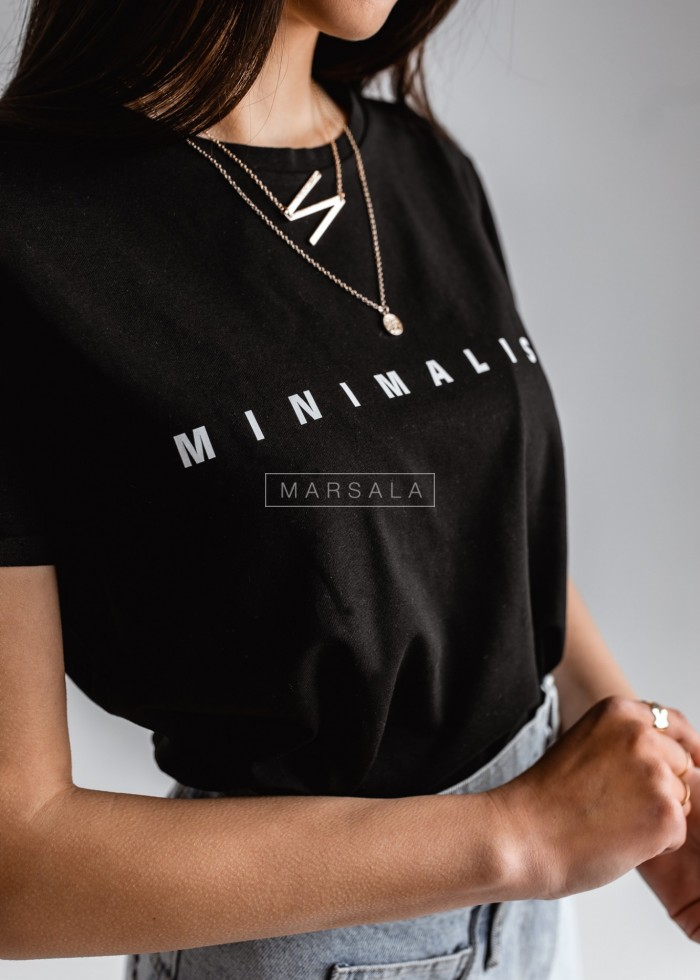 Women's black t-shirt with MINIMALIST by Marsala print