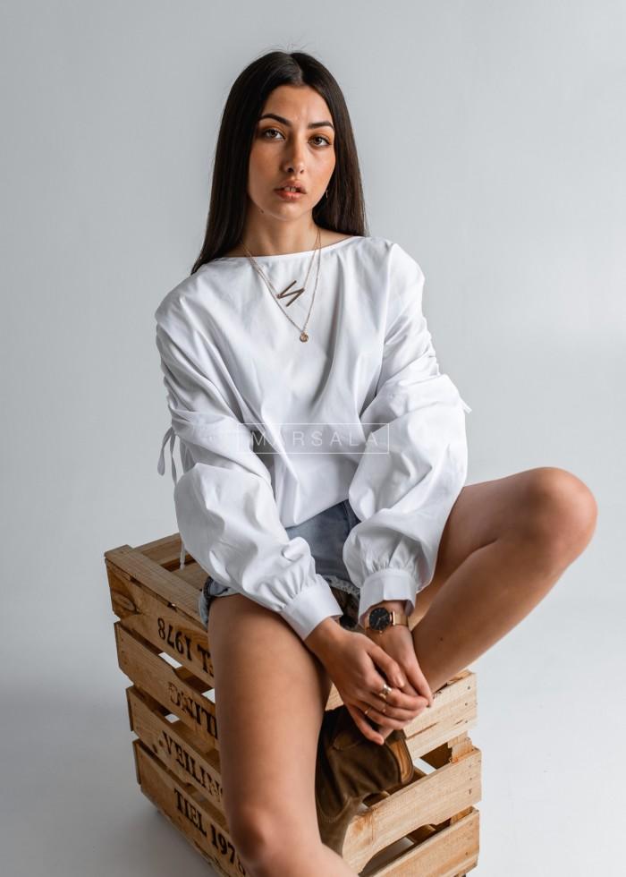 Bluzka z drapowanymi rękawami biała - LETICIA by Marsala