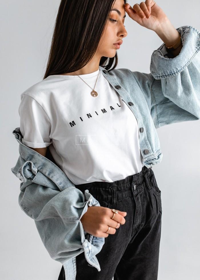 T-shirt damski w kolorze białym z nadrukiem MINIMALIST by Marsala