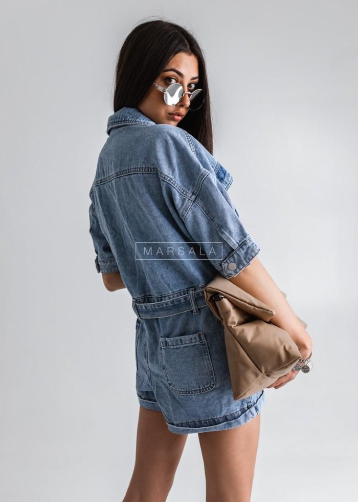 Kombinezon jeansowy z guzikami i paskiem - CHARLIE DENIM