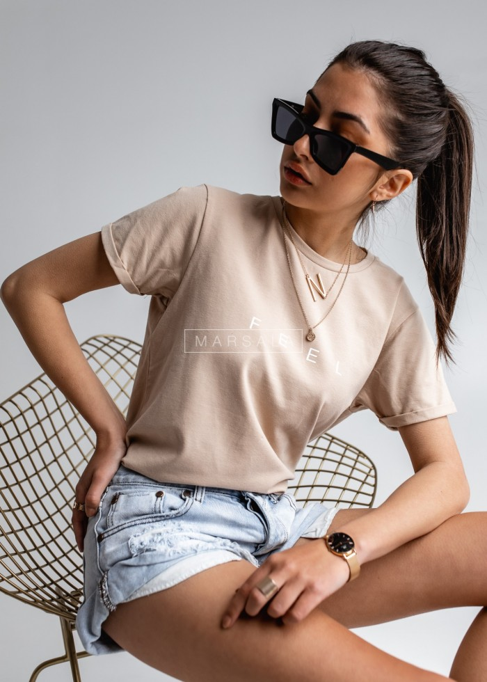 Women's beige t-shirt with FEEL print by Marsala