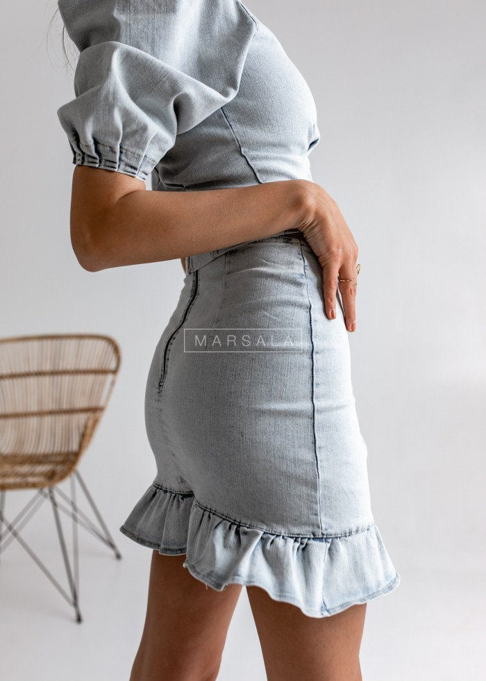 DENIM FRIEND skirt with frill bright denim by MARSALA