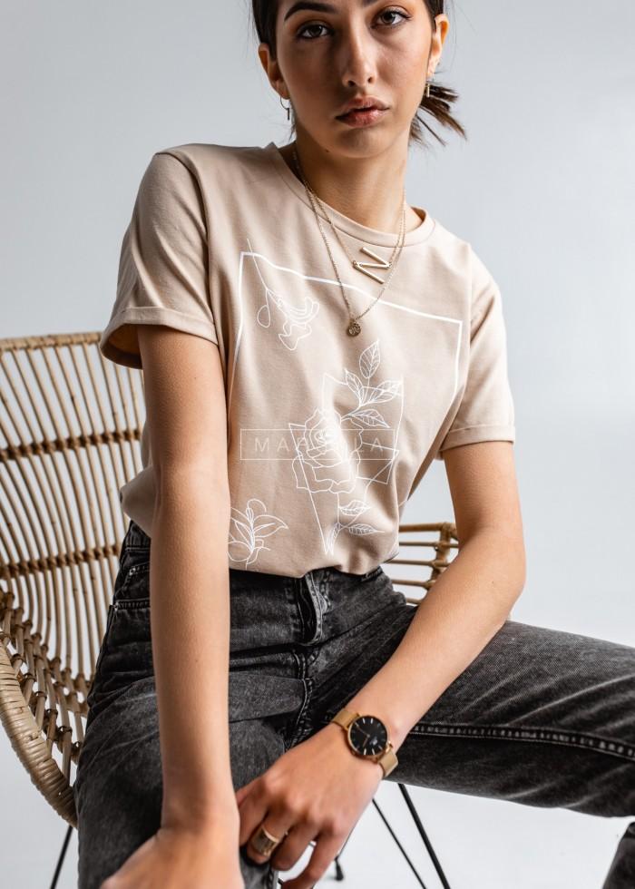 T-shirt damski w kolorze beżowym z nadrukiem geometrycznym FLOWER by Marsala