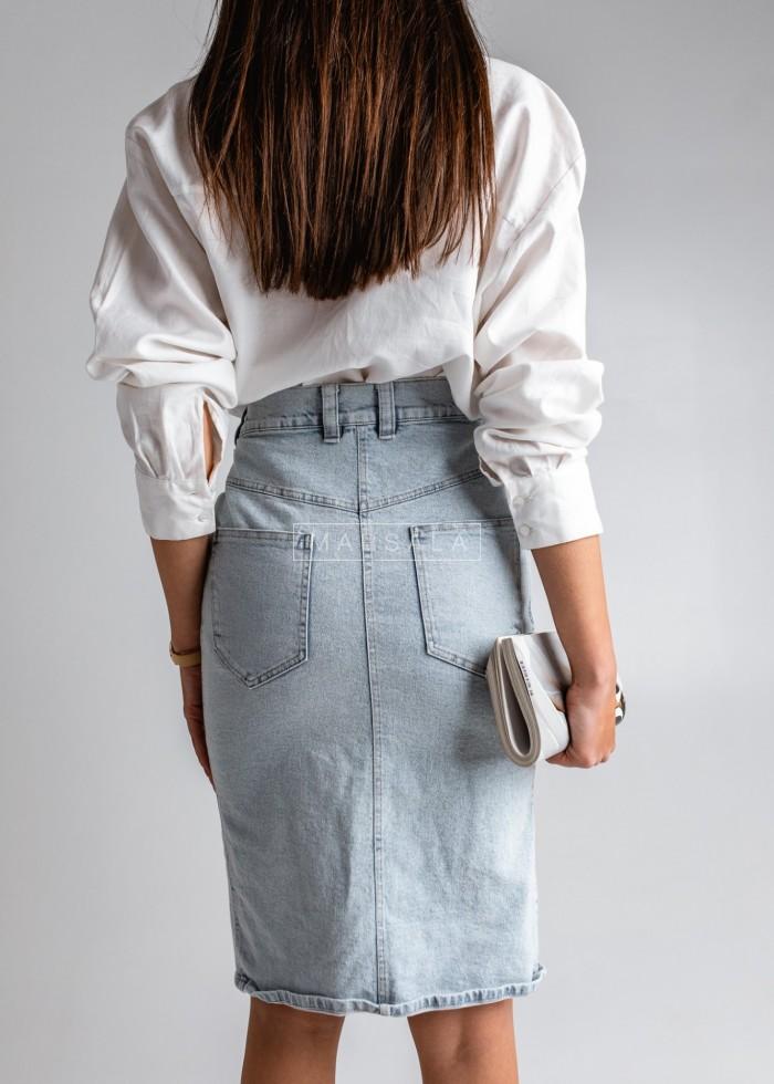 Midi denim skirt with slit and zip - ARIZONA