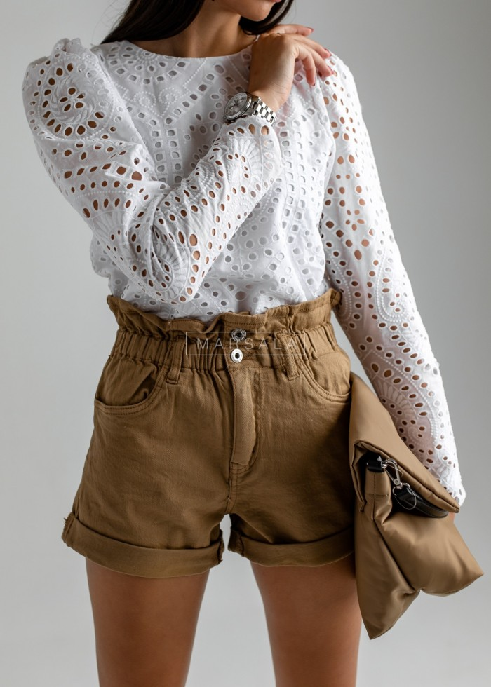 Shorts with waistband and camel frill - HUBBY