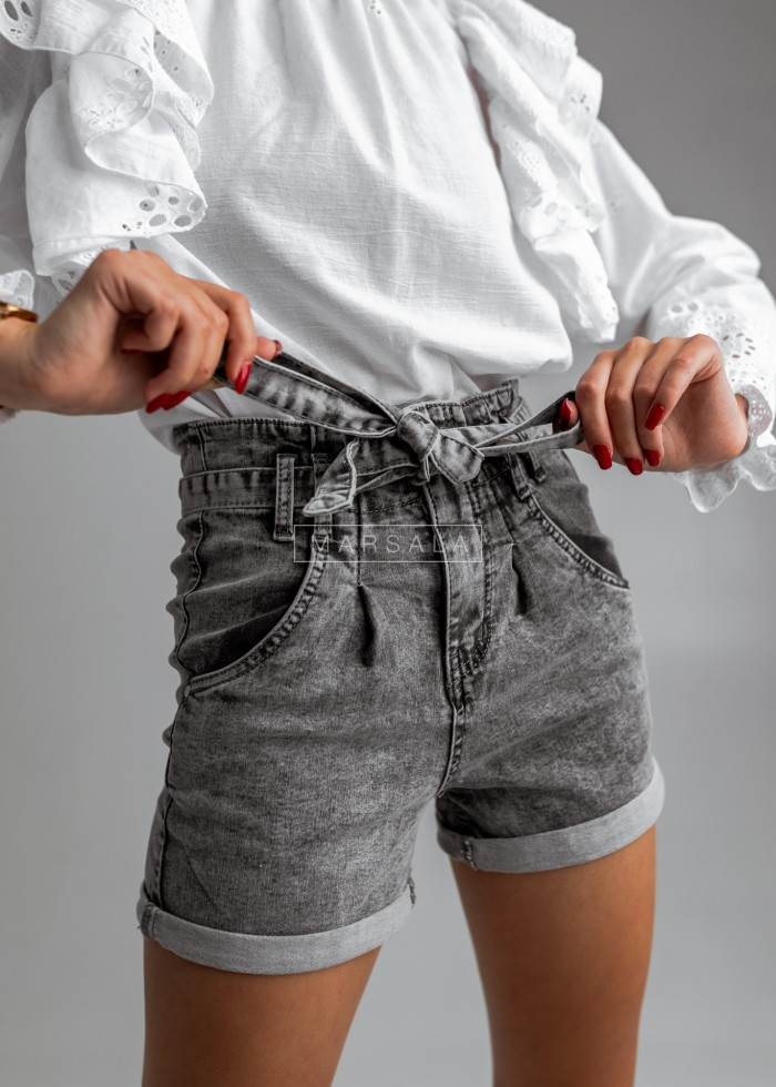 Shorts with binding grey marbled denim - MONTANA