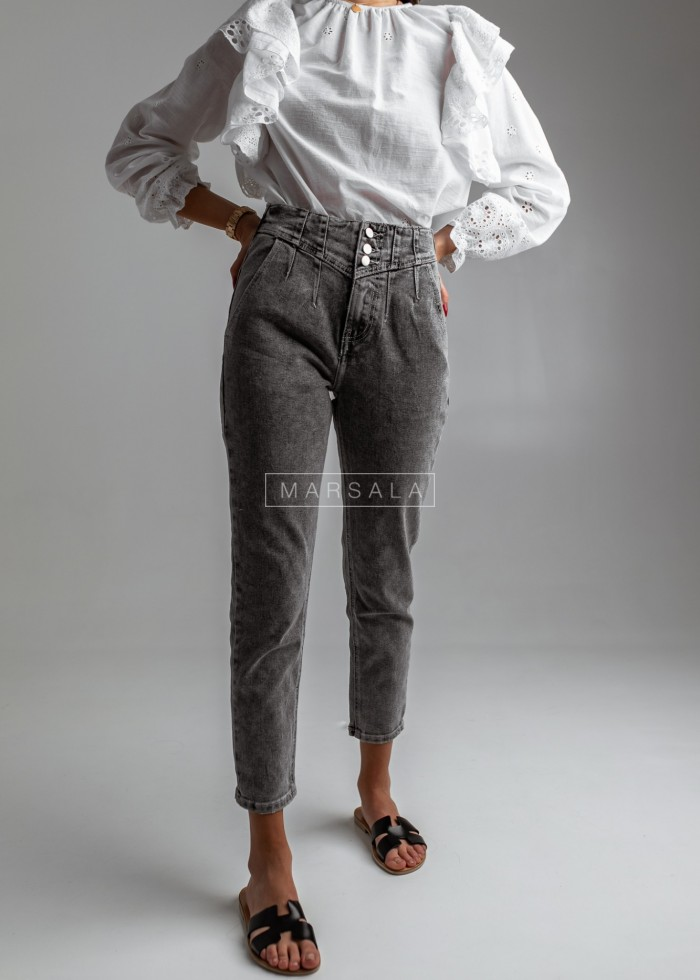 Fitted grey mom jeans with draping at waist - DYLAN